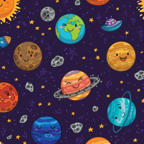 Happy space big scale fabric penguinhouse spoonflower for Space pattern fabric