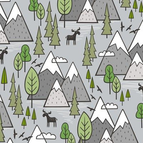 Mountains Forest Woodland Trees & Moose on Grey