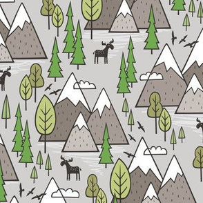 Mountains Forest Woodland Trees & Moose on Warm Grey