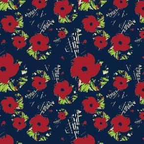 Red Flowers on Navy Blue Upholstery Fabric