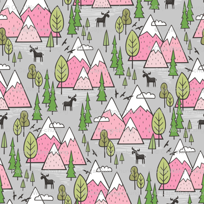 Mountains Forest Woodland Trees & Moose Pink on Grey