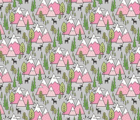 Mountains Forest Woodland Trees & Moose Pink on Grey fabric by caja_design on Spoonflower - custom fabric