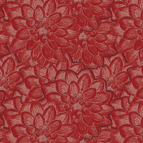 Dahlias Flowers Red Uphostery Fabric