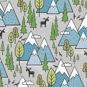 Mountains Forest Woodland Trees & Moose Blue on Grey