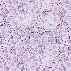 Dahlias Purple Upholstery Fabric