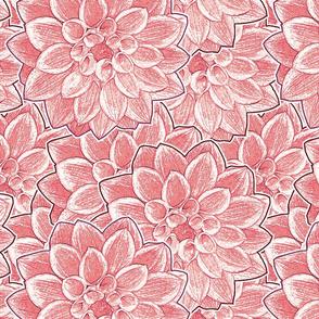 Dahlias Dark Pink Upholstery Fabric
