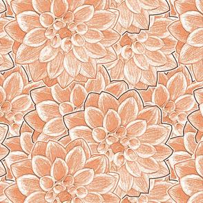 Dahlia Flowers Orange Upholstery Fabric