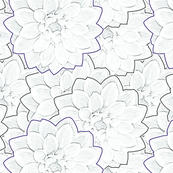 Dahlias White Upholstery Fabric