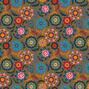Suzani inspired flowers on dark brown - tiny