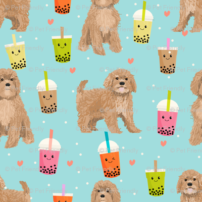 Cavoodle bubble tea boba  kawaii cute cavapoo pattern light blue