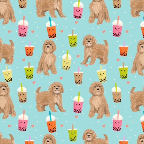 Cavoodle bubble tea boba  kawaii cute cavapoo pattern light blue fabric by petfriendly on Spoonflower - custom fabric