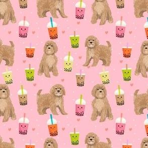 Cavoodle bubble tea boba  kawaii cute cavapoo pattern pink