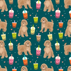 Cavoodle bubble tea boba  kawaii cute cavapoo pattern dark green