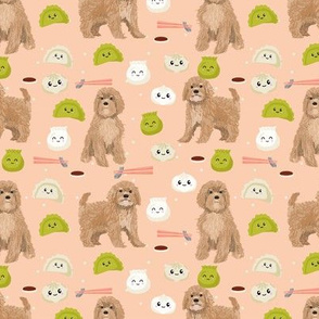 Cavoodle dim sum food kawaii cute cavapoo pattern blush