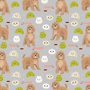 Cavoodle dim sum food kawaii cute cavapoo pattern light grey