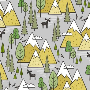 Mountains Forest Woodland Trees & Moose Yellow on Grey