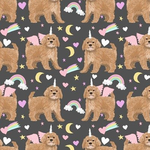 Cavoodle pastel unicorn magic cute cavapoo pattern dark grey