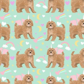 Cavoodle pastel unicorn magic cute cavapoo pattern mint