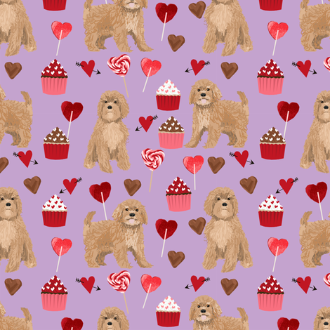 Cavoodle valentines day cute cavapoo pattern purple fabric by petfriendly on Spoonflower - custom fabric