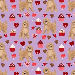 Cavoodle valentines day cute cavapoo pattern purple