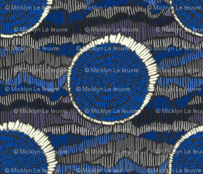 Abstract Eclipse Polka Dots in Cobalt Blue and Grey