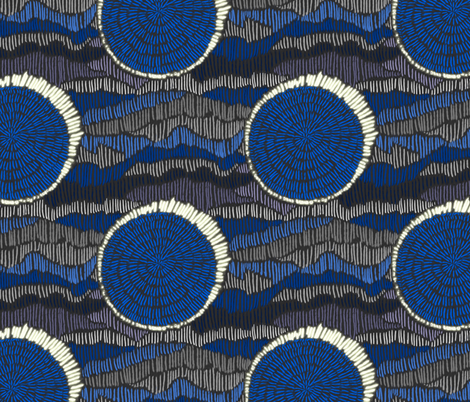 Abstract Eclipse Polka Dots in Cobalt Blue and Grey fabric by micklyn on Spoonflower - custom fabric