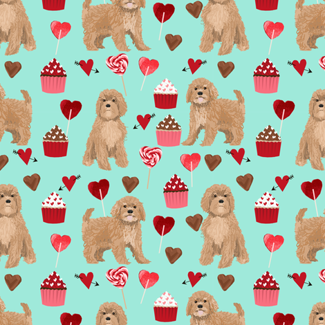 Cavoodle valentines day cute cavapoo pattern teal fabric by petfriendly on Spoonflower - custom fabric