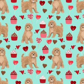 Cavoodle valentines day cute cavapoo pattern teal