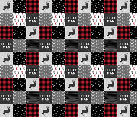 "2"" small scale - little man - red and black (buck) quilt woodland fabric by littlearrowdesign on Spoonflower - custom fabric"