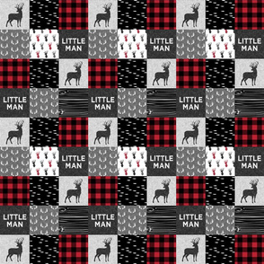 "2"" small scale - little man - red and black (buck) quilt woodland"