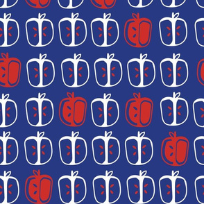 Apple Cores in blue and red