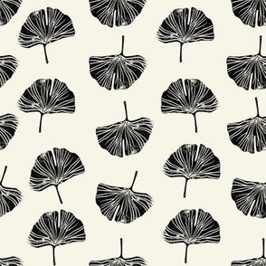 Ginkgo leaf pattern botanical print tan and black