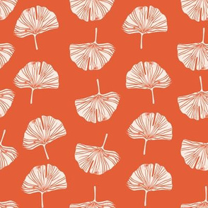 Ginkgo leaf pattern botanical print orange