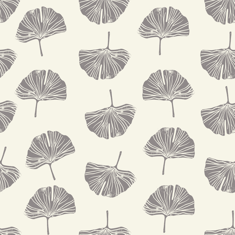 Ginkgo leaf pattern botanical print grey fabric by andrea_lauren on Spoonflower - custom fabric