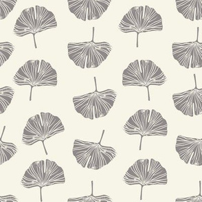 Ginkgo leaf pattern botanical print grey