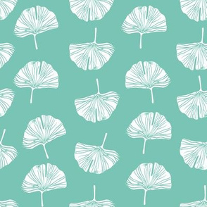 Ginkgo leaf pattern botanical print light blue