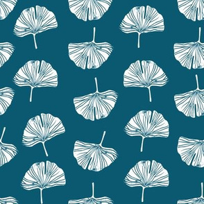 Ginkgo leaf pattern botanical print blue