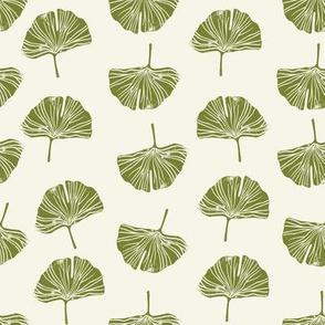 Ginkgo leaf pattern botanical print green
