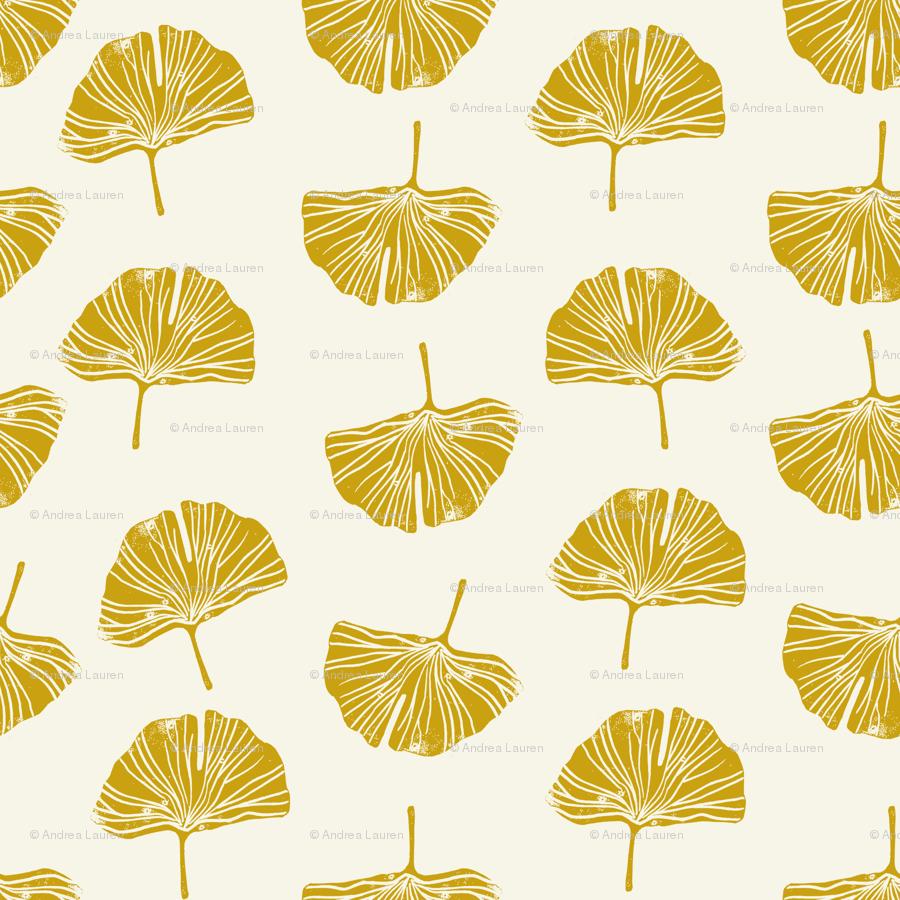 Ginkgo leaf pattern botanical print yellow wallpaper - andrea_lauren ...