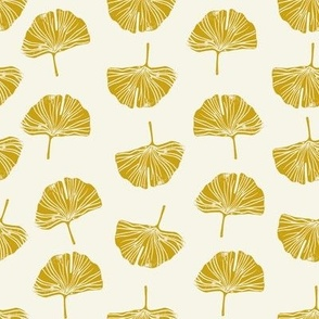 Ginkgo leaf pattern botanical print yellow