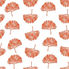 Ginkgo leaf pattern botanical print peach