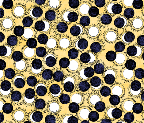 Solar Eclipse Navy and Yellow fabric by pond_ripple on Spoonflower - custom fabric