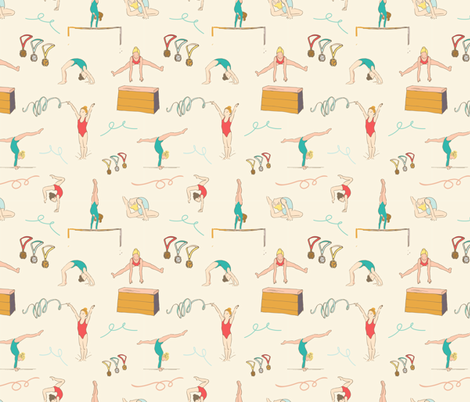 Gymnastics Girls fabric by michellegracedesign on Spoonflower - custom fabric
