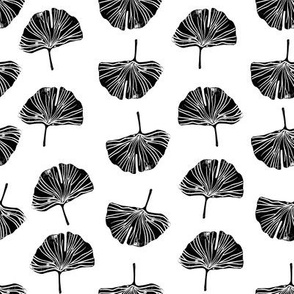 Ginkgo leaf pattern botanical print black and white