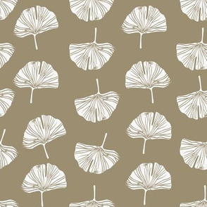 Ginkgo leaf pattern botanical print medium beige