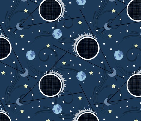 Solar Eclipse Umbra Blue fabric by brainsarepretty on Spoonflower - custom fabric