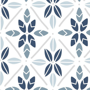 Blue Tile Leaves - Large