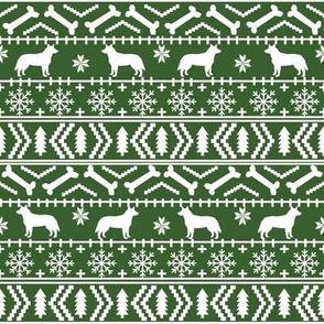 Australian Cattle Dog fair isle christmas sweater pattern print green