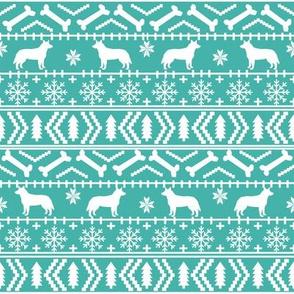Australian Cattle Dog fair isle christmas sweater pattern print bright blue