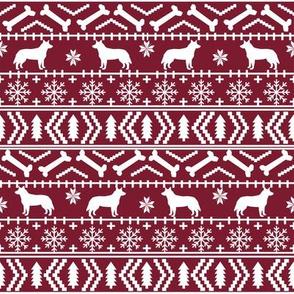 Australian Cattle Dog fair isle christmas sweater pattern print maroon